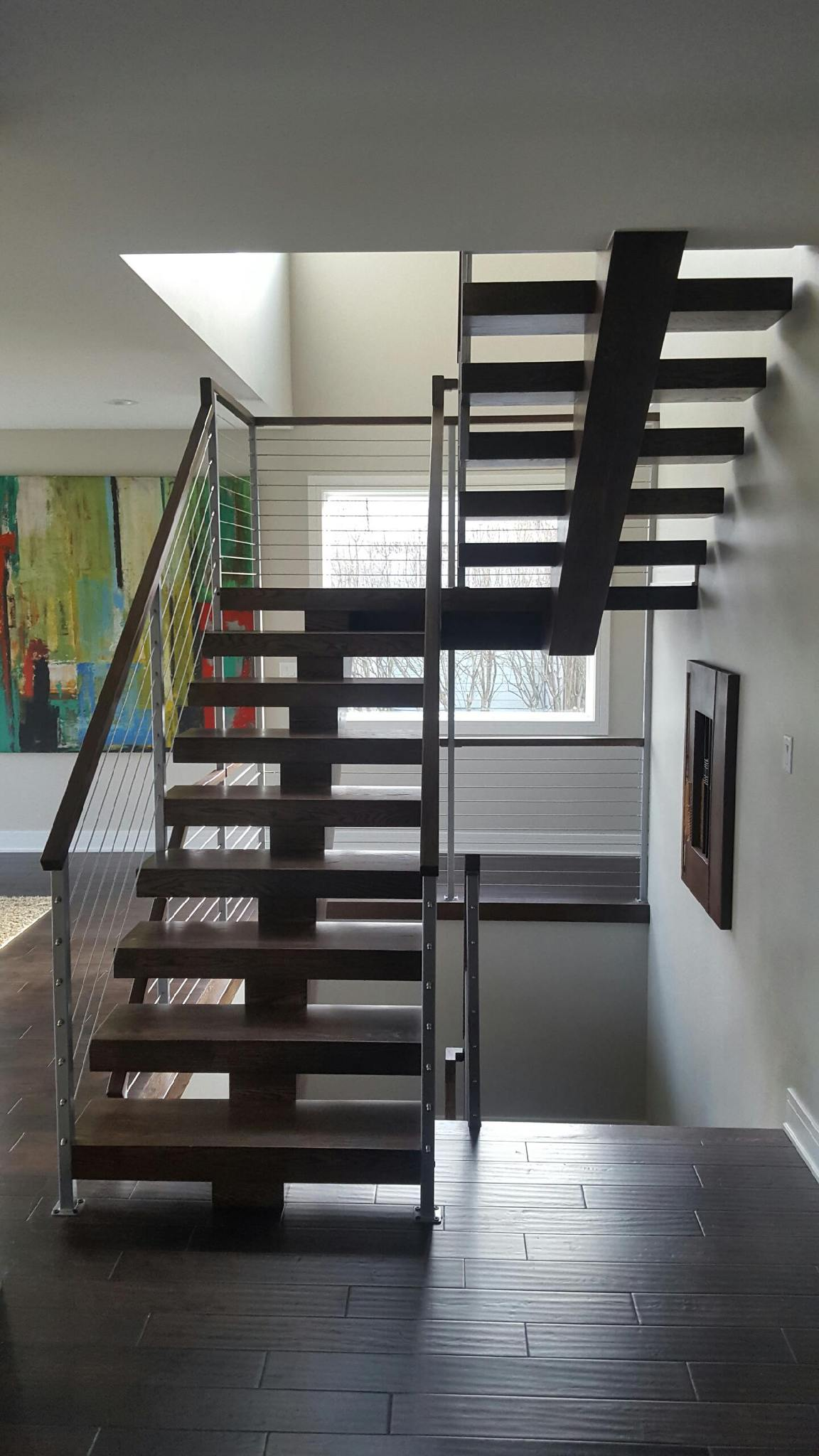 Open Risers Stairs With Wire Cable Railing Hl Stairs