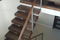 HL Stairs - Red Oak Open Risers Construction Stairs with wire cable railings