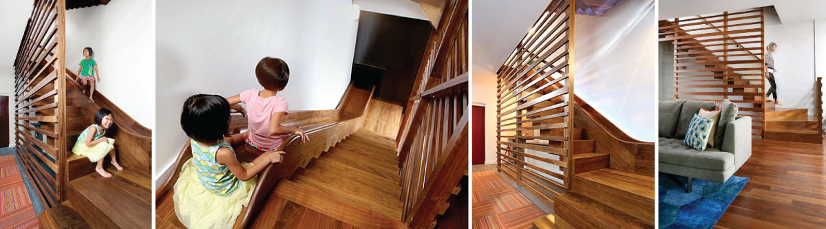 A Custom Walnut Stair And Slide Hybrid In Chicago
